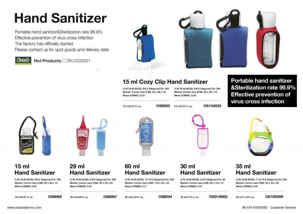 hand sanitizer products list for ocean star manufacturer