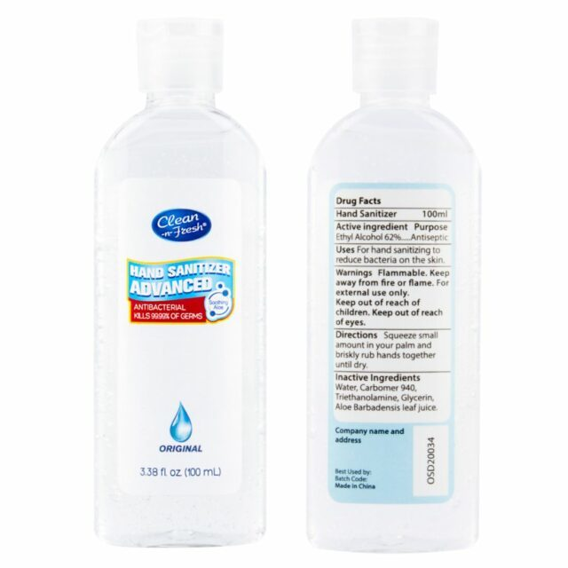 100ml custom hand sanitizer gel 100ml