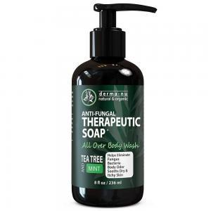 Antifungal Antibacterial Soap & Body Wash - Natural Fungal Treatment with Tea Tree Oil for Jock Itch, Athletes Foot, Body Odor, Nail Fungus, Ringworm, Eczema & Back Acne - For Men and Wo