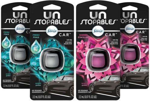 Febreze Car Air Freshener Vent Clips, Unstopables Fresh and Shimmer Scents, Odor Eliminator, 4 Count